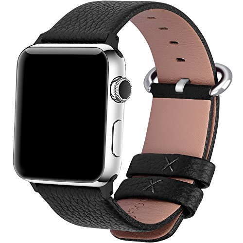 Apple Watch Bands 42mm, Fullmosa Yan Series Lichi Calf Leather Replacement Band/Strap with Stainless Steel Clasp for Apple iWatch Series 1 & 2 Sport and Edition Versions 2015 2016,Black
