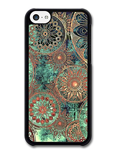 Floral coque pour iPhone 5C Abstract Flowers Green Copper 461IA