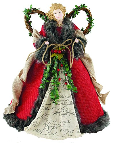 "Santa's Workshop 3096 Homespun Angel Tree Topper, 16"", Red,16"""