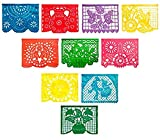 2 Pack Large Plastic Mexican Fiesta Papel Picado Multicolor Decorative Banner Fiesta Designs''for All Occassions''