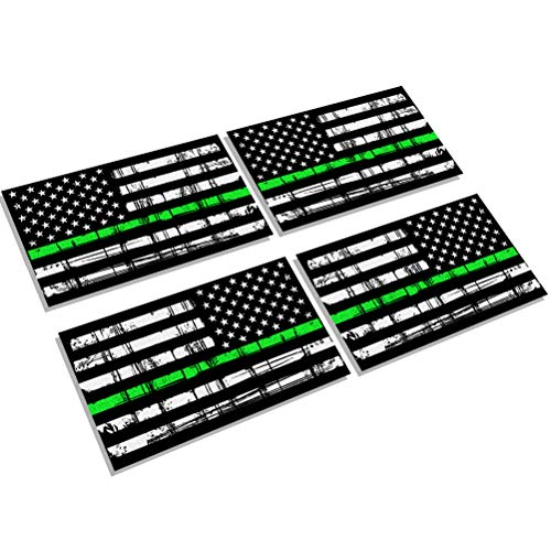 Creatrill Reflective Tattered Thin Green Line Decal Matte Black - 2 Pairs 3x5 in. American USA Flag Decal Stickers for Cars, Trucks, Hard Hat, Support for Federal Agents and Military ()