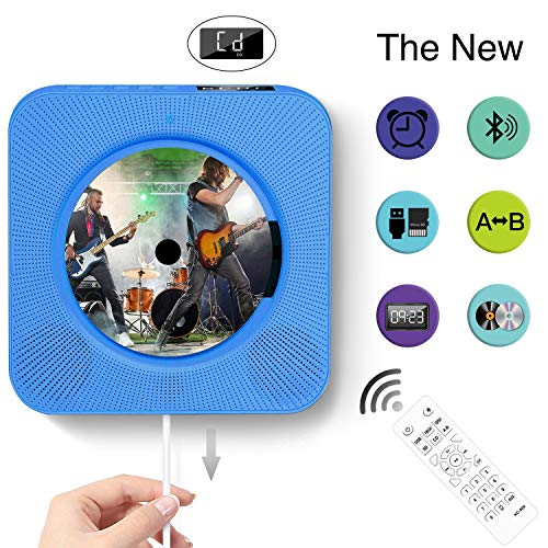 Portable Bluetooth CD Player, Wall Mountable Portable CD Player with Screen, Home Audio with Remote Control Built-in HiFi Speaker, USB Drive Player, MP3 3.5mm Headphone Jack & Aux Input/Output(Blue)