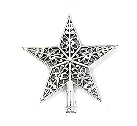 Dingang Lovely Shiny Xmas Decorative Christmas star Tree Topper for Table Top Ornament Silver