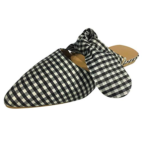 Orfilaly Women Summer Slippers, Ladies Sweet Plaid Bow Pointed Toe Beach Sandals Casual Work Shoes for Walking Daily Home White