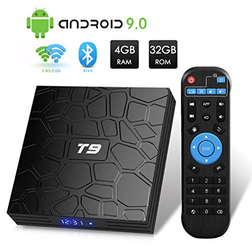 T9 Android 9.0 TV Box 4GB DDR3 RAM 32GB ROM RK3318 Bluetooth 4.0 Quad-Core Cortex-A53 64 Bits Support Dual WiFi 2.4G/5G 4K 3D Ultra HD HDMI H.265
