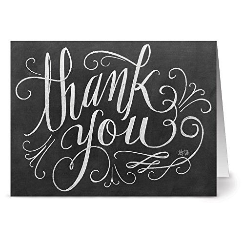 Handlettered Thank You   36 Chalkboard Thank You Note Cards   Blank Cards   Kraft Envelopes Included