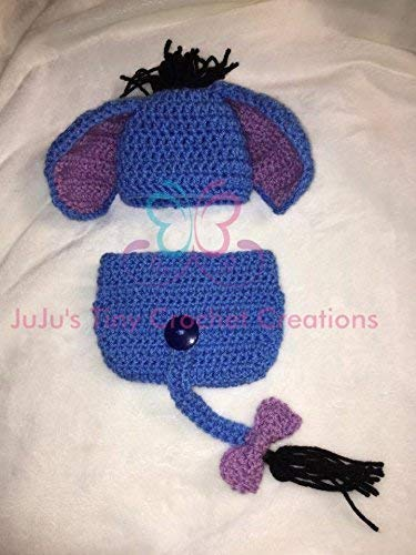Baby Newborn Infant Blue Donkey Outfit - Photo Prop - Halloween Costume - Baby Shower Gift - Halloween - Baby Clothes - Hat - Diaper Cover - Crochet - Handmade]()