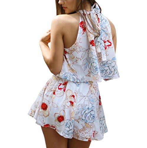 Vestido de verano, RETUROM Mujeres de Verano de tres cuartos de manga suelta Boho vestido de playa Blanco