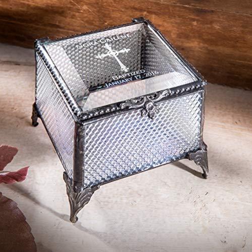 Baptism Gift for Girls Personalized Keepsake Box Engraved Clear Glass Jewelry J Devlin Box 825 EB222 - Engraved Clear Glass