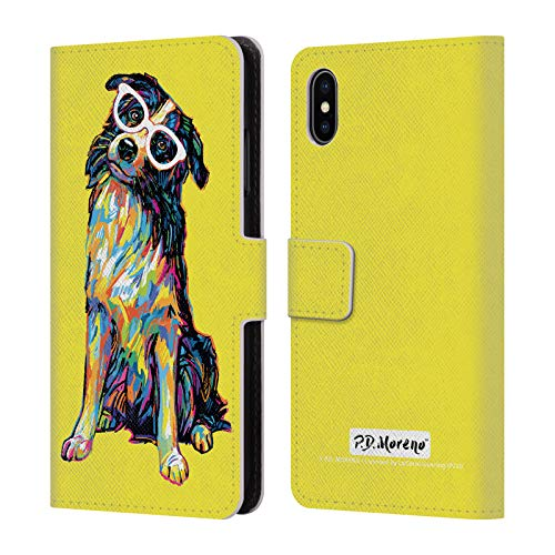 Official P.D. Moreno Border Collie Dogs Leather Book Wallet Case Cover for iPhone Xs Max