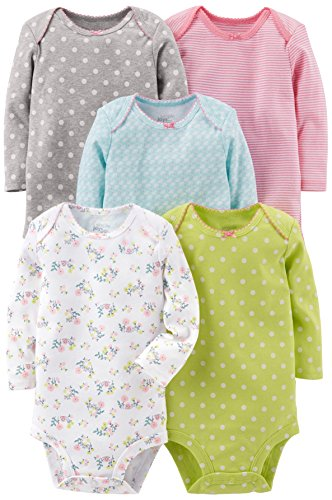 (Simple Joys by Carter's Baby Girls 5-Pack Long-Sleeve Bodysuit, Grey/Pink/Lime/Blue, Preemie)
