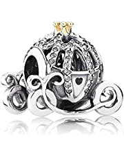 Annmors Disney Cinderella's Pumpkin Carriage Charms fits Pandora Charms Bracelets, 925 Sterling Silver-Lucky Charm for Woman Pendant Bead,Girl Jewelry Beads Gifts for Women Bracelet&Necklace