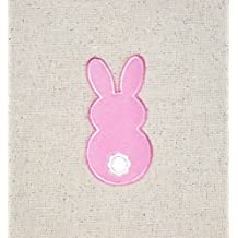 Pink Fuzzy Easter Bunny Back Side Iron on Embroidered Patch Applique