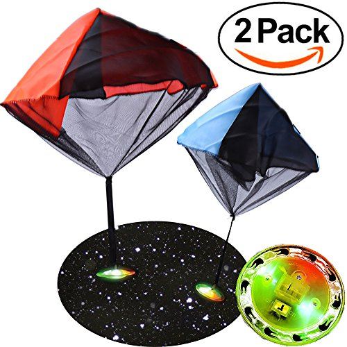 AMENON Light Up Toy UFO Parachute Flying Glider 2 Piece Set, Tangle Free Battery Included Hand (Tangle Free Toy Parachute)
