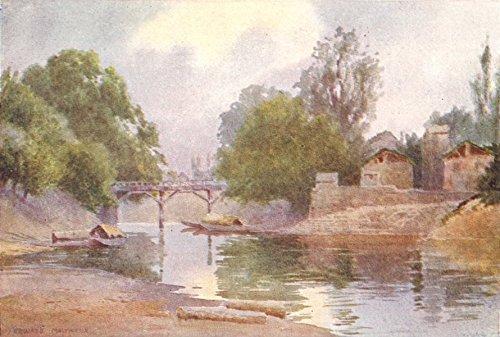 KASHMIR. Bridge of Burbur Shah, Chenar Bagh, Srinagar - 1924 - old print - antique print - vintage print - Kashmir art prints