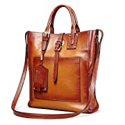 Amazon Lightning Deal 66% claimed: Kattee Designer Genuine Leather Tote Business Satchel Bag