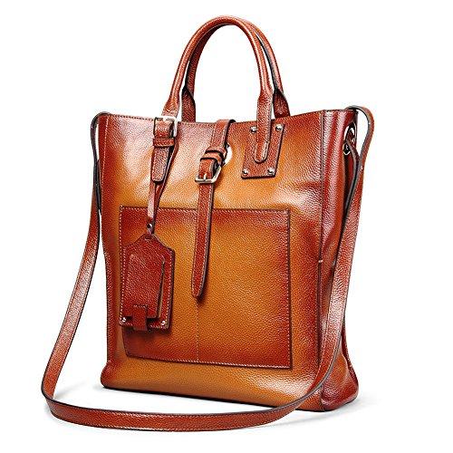 Amazon Lightning Deal 66% claimed: Kattee Designer Genuine Leather Tote Business Satchel Bag