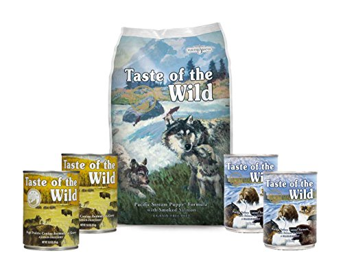 Taste Of The Wild Dog-Food Pacific Stream Puppy Food Grain Free 6 Pack 1 Bag 4 Cans & 1 Lid