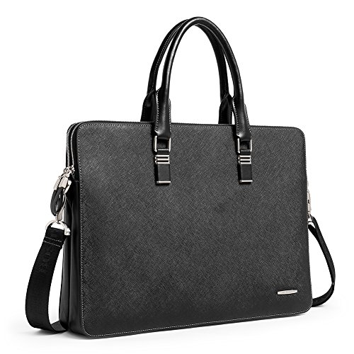 (BOSTANTEN Shoulder Leather Briefcase Shoulder Cross-body Laptop Business Bag for Men)