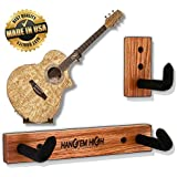 Angled Guitar Wall Hanger Display for Acoustic and Thick Body Guitars - Classic Oak