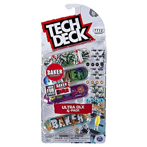 Tech-Deck Ultra DLX 4 Pack 96mm Fingerboards – Baker 2019 Edition