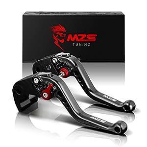 MZS Short Brake Clutch Levers for Kawasaki ZX6R/ZX636R/ZX6RR 2000-2004,ZX10R 2004-2005,ZX12R 2000-2005,ZZR600 2005-2009,VERSYS 1000 2012-2014,Z1000 2003-2006,ZX9R 2000-2003 Black