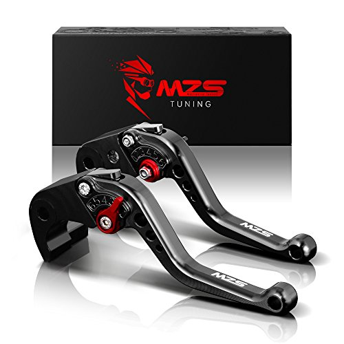MZS Short Brake Clutch Levers for Suzuki GSF650 07-09/GSX650F 08-15/DL1000 V-STROM 02-17/SV1000 SV1000S 03-07/TL1000R 98-03/GSF1200 01-06/GSF1250 07-15/GSX1250 10-16/GSXR1300 99-07/GSX1400 01-07 Black ()