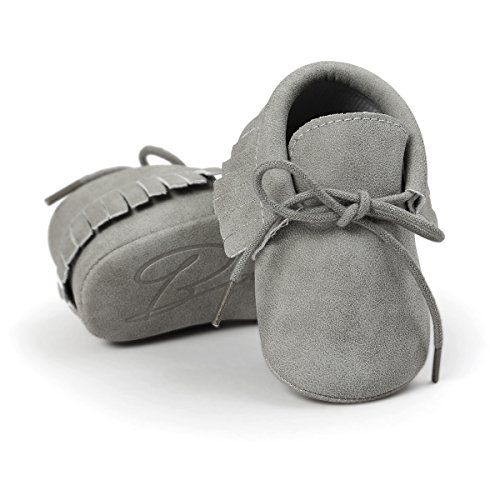 (Royal Victory Baby Boys Girls Moccasins Soft Sole Tassels Prewalker Anti-Slip Shoes (M:6~12 Months, PU Grey))