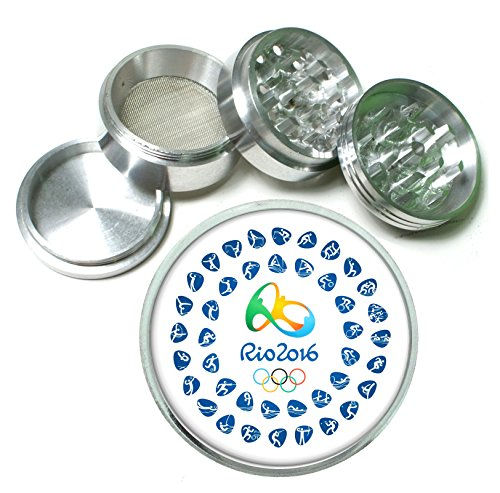 - Olympics 2016 Rio Summer Games 4 Pc. Aluminum Tobacco Spice Herb Grinder