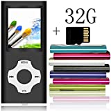 $28 Get Tomameri - Portable MP3 / MP4 Player with Rhombic Button, Including a Micro SD Card and Support Up to 64GB, Compact Music, Video Player, Photo Viewer Supported - Black