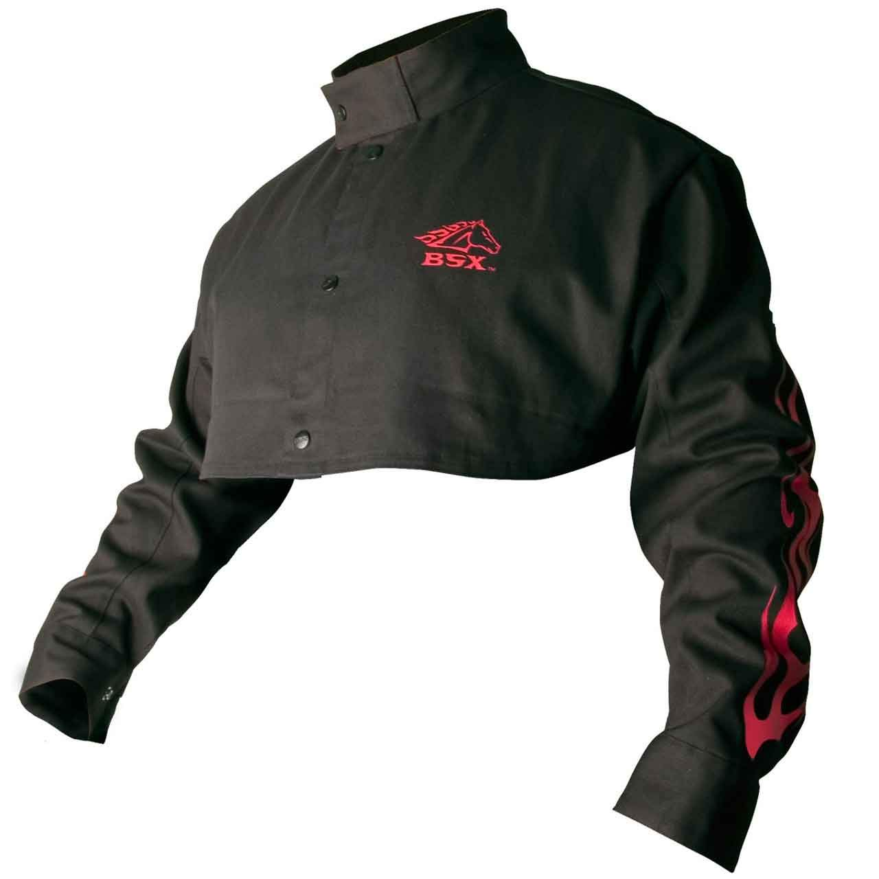 Black Stallion BSX BX21CS Black 9 oz. FR Cape Sleeves W/ Red Flames, L
