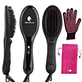 #8: MiroPure Ionic Hair Straightener Brush with Heat Resistant Glove for Silky Frizz Free Hair Anti-Scald Ceramic Straightener Comb Ionic Hair Brush