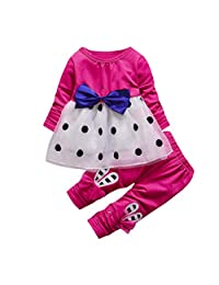 ASTV Toddler Girl Clothes Bowknot Long Sleeve Dot Princess Dress Tops +Long Pants Set
