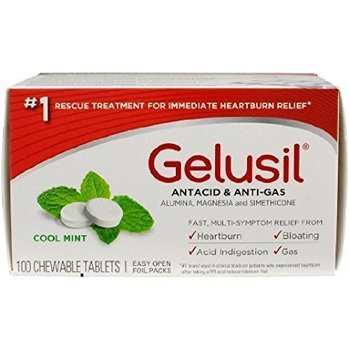 Gelusil Antacid/Anti-Gas Tablets Cool Mint, 100 Tablets (2 Pack)