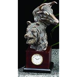 Stock Market Clock, Bronzed Metal