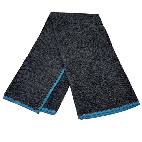Yoga Mate Soft, Sweat Absorbent, Non-Slip Bikram Yoga Hand Towel, Gray | Blue Trim