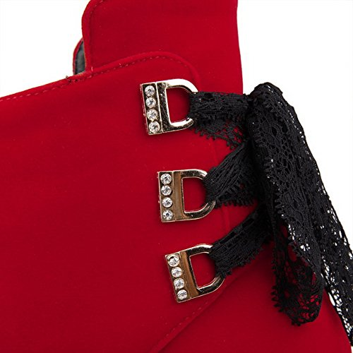 Allhqfashion Scarpe Con Tacco A Spillo Donna-tacco A Spillo Tacco Medio Smerigliato Con Tacco Medio-alto, Nodo Rosso, 40