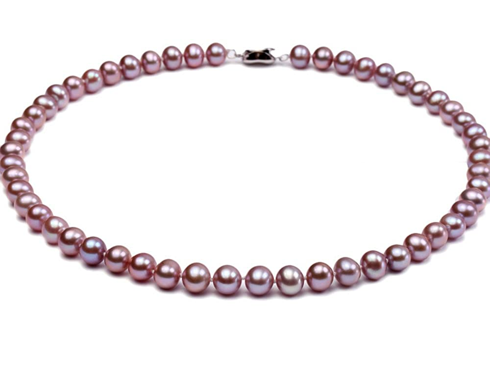 JYX 7-8mm AAA Natural Lavender Round Freshwater Pearl Necklace-AAA Quality JYX Pearl RPN193