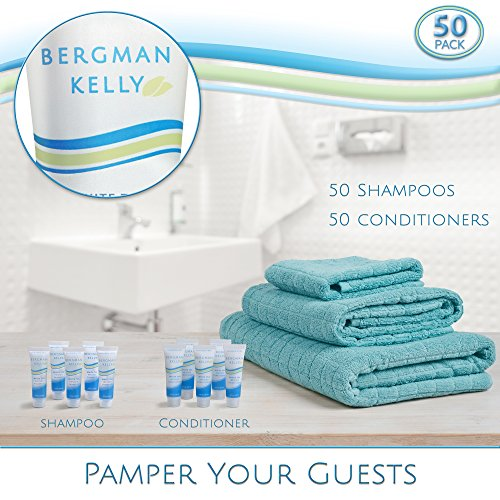 BERGMAN KELLY Hotel Shampoo and Conditioner Set, Hotel Toiletries Bulk (50 Pack, 0.5 Fl Oz) Travel Size Shampoo Amenities for Guest Hospitality, Motel, Air BnB; Mini Luxury Shampoo Conditioner Sample by BERGMAN KELLY (Image #4)