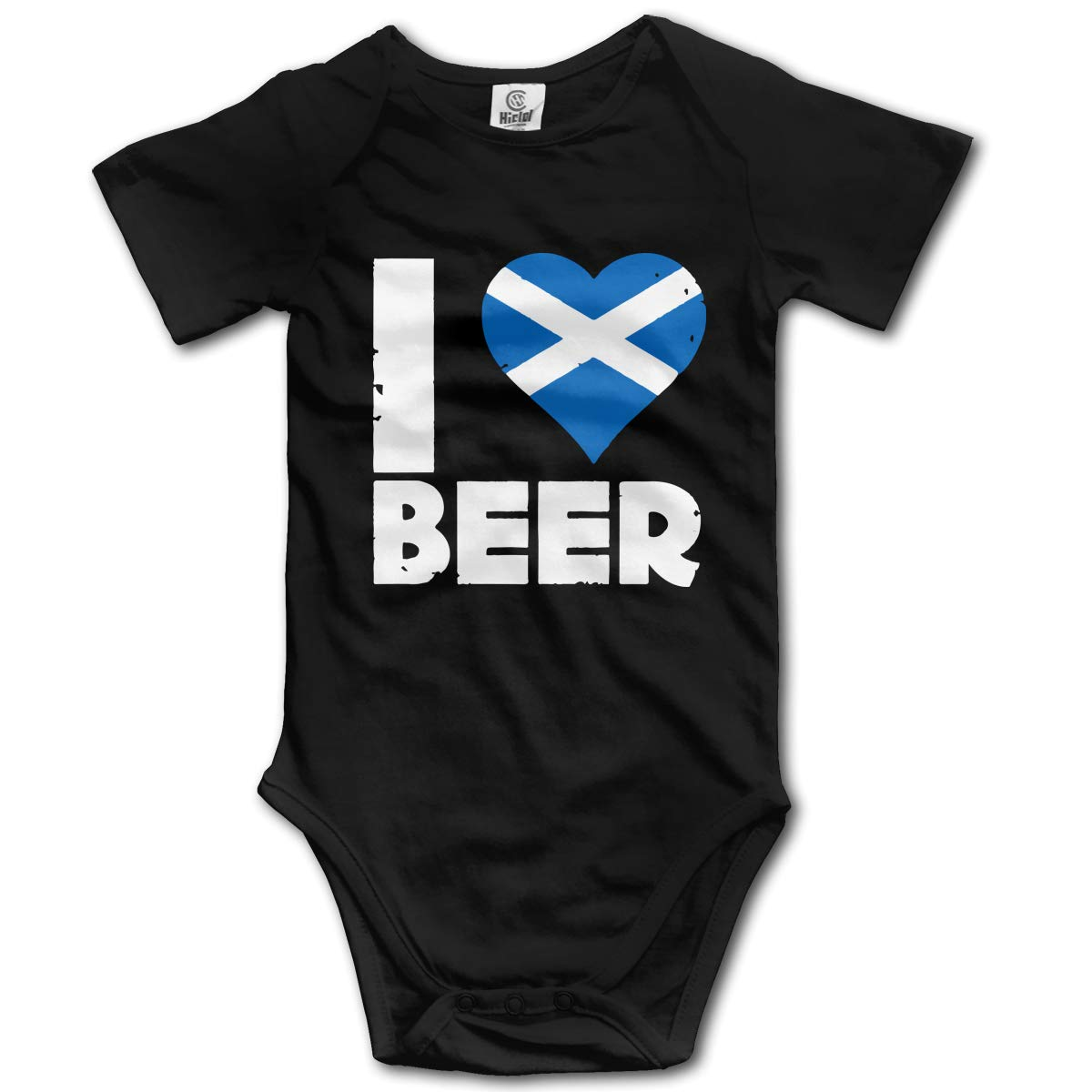 Q98BABY Infant Babys Short Sleeve Climb Jumpsuit I Heart Scottish Beer Personalized Round Neck Baby Clothes