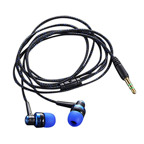 Semoic H-168 3.5mm in-Ear Braided Wired subwoofer earplug Insulated Sports Music Headphones(Blue) by Semoic (Image #7)