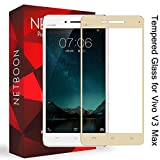 NETBOON® High Quality 3D Full Screen Cover Tempered Glass Screen Protector for Vivo V3 Max Gold, With 9H Hardness, Anti Blue
