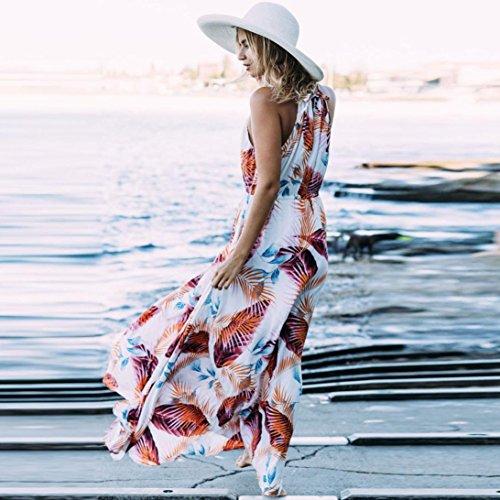 Zolimx Mujer Verano Boho Largo Vestido de Fiesta de Noche Beach Dresses Sundress Rose Red