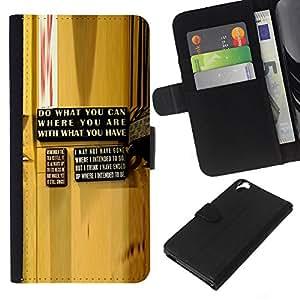 All Phone Most Case / Oferta Especial Cáscara Funda de cuero Monedero Cubierta de proteccion Caso / Wallet Case for HTC Desire 820 // Yellow Abstract Message Wood Grain