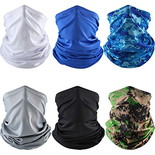 6 Pieces Summer UV Protection Face Mask Neck Gaiter Scarf Sunscreen Breathable Bandana