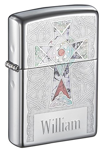 (Personalized Zippo Fuzion Cross High Polish Lighter with Free Engraving)