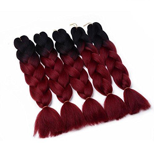 WIGENIUS Two Tone Ombre Jumbo Braid Hair Extension 5Pcs/Lot 100g/pc Kanekalon Fiber for Twist Braiding Hair(5pcs,Black/Burgundy)