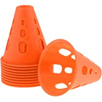 kesoto 10Pcs Sport Football Soccer Training Cone Outdoor Football Train Obstacles for Roller Skating - Orange