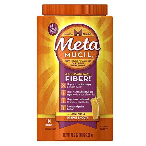 Metamucil Daily Fiber Supplement, Orange Smooth Sugar Psyllium Husk Fiber Powder, 114 Doses (Texture Fiber Supplement)