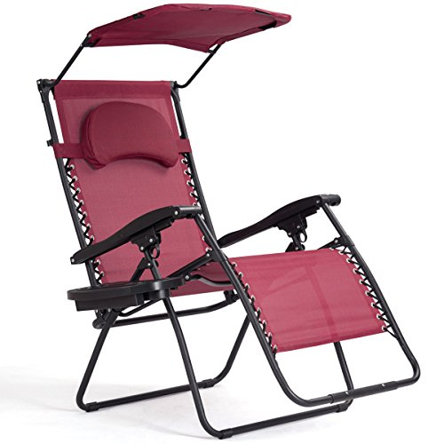 Burgandy Folding Zero Gravity Lounge Chair With Sunshade Canopy Cup Holder Armrest Comfortable Headrest Backyard Patio Lawn Deck Outdoor Garden Pool Side Beach Furniture Solid Steel Tubes Frame ()